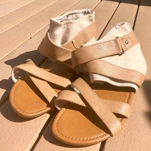 Mossimo Strappy Tan Pleather Sandals